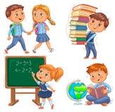 Πίσω στα σχολικά χαριτωμένα παιδιά καθορισμένα Στοκ εικόνες με δικαίωμα ελεύθερης χρήσης