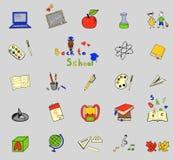 Πίσω στα σχολικά μεγάλα doodles που τίθενται σε ευθυγραμμισμένο χαρτί Στοκ Εικόνες