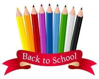 Πίσω στα σχολικές μολύβια και την κορδέλλα Στοκ φωτογραφία με δικαίωμα ελεύθερης χρήσης