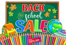 Πίσω στην απεικόνιση σχολικής πώλησης με το σχολικό πίνακα και τη μάνδρα χρώματος Στοκ εικόνα με δικαίωμα ελεύθερης χρήσης