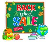 Πίσω στην απεικόνιση σχολικής πώλησης με το σχολικό πίνακα Στοκ Εικόνα