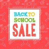 Πίσω στην αφίσα και το έμβλημα σχολικής πώλησης με το ζωηρόχρωμο τίτλο και τα στοιχεία στο κόκκινο υπόβαθρο για τη λιανική προώθη Στοκ εικόνες με δικαίωμα ελεύθερης χρήσης
