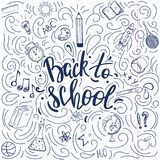 Πίσω στην αφίσα σχολικού doodle ύφους ελεύθερη απεικόνιση δικαιώματος