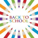 Πίσω στην αφίσα σχολικών μολυβιών Στοκ Φωτογραφία