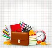 Πίσω στη σχολική ανασκόπηση με τις σχολικές προμήθειες Στοκ Εικόνα