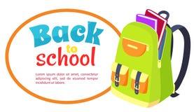 bfdaee235c1 Πίσω στη σχολική αφίσα με την ανοικτή σχολική τσάντα, βιβλία ελεύθερη  απεικόνιση δικαιώματος
