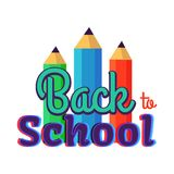 Πίσω στη σχολική αφίσα με τρία ζωηρόχρωμα μολύβια ελεύθερη απεικόνιση δικαιώματος