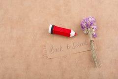 Πίσω στη σχολική εγγραφή με την ανθοδέσμη λουλουδιών Στοκ φωτογραφία με δικαίωμα ελεύθερης χρήσης