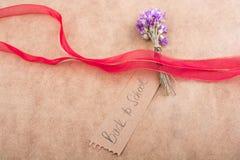 Πίσω στη σχολική εγγραφή με την ανθοδέσμη λουλουδιών Στοκ Φωτογραφία