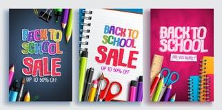 Πίσω στη σχολική πώληση το διανυσματικό σχέδιο αφισών έθεσε με τις ζωηρόχρωμες σχολικές προμήθειες, εκπαιδευτικά στοιχεία απεικόνιση αποθεμάτων