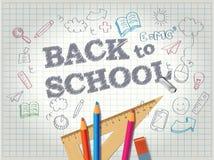 Πίσω στη σχολική αφίσα με τα doodles Στοκ Εικόνες