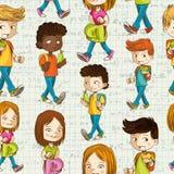 Πίσω στο άνευ ραφής σχέδιο εκπαίδευσης παιδιών σχολικών κινούμενων σχεδίων. Στοκ φωτογραφία με δικαίωμα ελεύθερης χρήσης