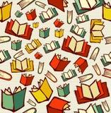 Πίσω στο άνευ ραφής backgrou σχεδίων βιβλίων κινούμενων σχεδίων σχολικής εκπαίδευσης Στοκ Εικόνες