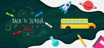 Πίσω στο έμβλημα σχολικής πώλησης, αφίσα, επίπεδο σχέδιο ζωηρόχρωμο, διάνυσμα Στοκ εικόνες με δικαίωμα ελεύθερης χρήσης