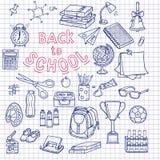 Πίσω στο περιγραμματικό σημειωματάριο σχολικών προμηθειών doodles με την εγγραφή ελεύθερη απεικόνιση δικαιώματος