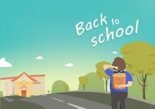 Πίσω στο σχολείο, ο σπουδαστής περπατά στο σχολείο, εποχιακά, διανυσματικά κινούμενα σχέδια, ευχετήρια κάρτα, οδικός τρόπος στο σ απεικόνιση αποθεμάτων