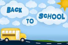Πίσω στο σχολικό κείμενο σε ένα τοπίο με το σχολικό λεωφορείο, το δρόμο, τον ήλιο και τα σύννεφα r διανυσματική απεικόνιση