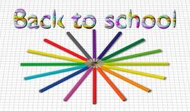 Πίσω στο σχολικό υπόβαθρο με το κύμα ουράνιων τόξων και τα μολύβια, διανυσματική απεικόνιση Στοκ εικόνες με δικαίωμα ελεύθερης χρήσης
