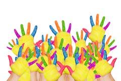 Πίσω στο σχολείο! Ζωηρόχρωμα αυξημένα χέρια Στοκ εικόνα με δικαίωμα ελεύθερης χρήσης