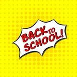 Πίσω στο σχολείο - κωμικό κείμενο, λαϊκό ύφος τέχνης Ελεύθερη handdrawn εγγραφή τυπογραφίας με το κίτρινο διαστιγμένο ημίτονο υπό Στοκ Φωτογραφία