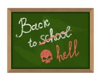 Πίσω στο σχολείο (που διασχίζεται έξω στην κόλαση) Η επιγραφή στο Gre ελεύθερη απεικόνιση δικαιώματος