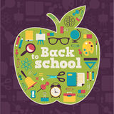 Πίσω στο σχολείο - υπόβαθρο με το μήλο και τα εικονίδια Στοκ Εικόνες