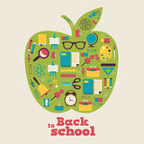 Πίσω στο σχολείο - υπόβαθρο με το μήλο και τα εικονίδια Στοκ εικόνες με δικαίωμα ελεύθερης χρήσης