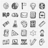 Πίσω στο σχολείο doodle χέρι-σύρετε το σύνολο εικονιδίων διανυσματική απεικόνιση