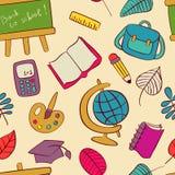 Πίσω στο σχολικό άνευ ραφής σχέδιο των παιδιών doodles απεικόνιση αποθεμάτων