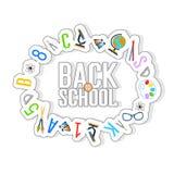 Πίσω στο υπόβαθρο σχολικού χρώματος με τα σχολικά θέματα Στοκ εικόνες με δικαίωμα ελεύθερης χρήσης