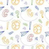 Πίσω στο υπόβαθρο shool Συρμένο χέρι doodle άνευ ραφής σχέδιο Δημιουργικά στοιχεία δυσαρεστημένη απεικόνιση κινούμενων σχεδίων αγ Στοκ εικόνα με δικαίωμα ελεύθερης χρήσης