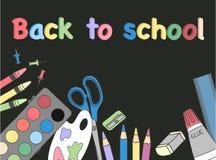 πίσω σχολείο έννοιας Συρμένο χέρι διάνυσμα απεικόνισης Μαύρη ανασκόπηση στοκ φωτογραφίες με δικαίωμα ελεύθερης χρήσης