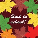 πίσω σχολείο Αφίσα με τα φύλλα σφενδάμου Στοκ Εικόνα