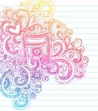 πίσω σχολείο σημειώσεων μουσικής doodle περιγραμματικό στο διάνυσμα Στοκ Εικόνες