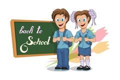 πίσω σχολείο Σχολικά κορίτσι και αγόρι κινούμενων σχεδίων Σχέδιο χεριών του σπουδαστή με ένα σακίδιο πλάτης Έννοια σχολικών παιδι ελεύθερη απεικόνιση δικαιώματος