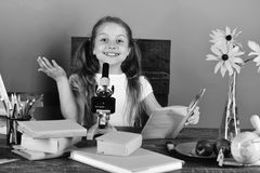 πίσω σχολείο Το κορίτσι με το εύθυμο πρόσωπο κρατά το βιβλίο Η μαθήτρια κάθεται στο γραφείο Στοκ Εικόνες