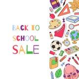 πίσω σχολικό πρότυπο σχολικό σύνολο εξαρτημάτ& Πρότυπο για τη διαφήμιση, εκτύπωση, έμβλημα Πώληση, ειδικές προσφορές Στοκ Εικόνα