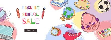 πίσω σχολικό πρότυπο σχολικό σύνολο εξαρτημάτ& Πρότυπο για τη διαφήμιση, εκτύπωση, έμβλημα Πώληση, ειδικές προσφορές Στοκ φωτογραφία με δικαίωμα ελεύθερης χρήσης