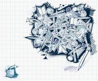 πίσω σχολικό ύφος doodles σε ασ&ta Στοκ Εικόνες