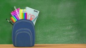 πίσω σχολείο Ένα μπλε Satchel σύνολο των σχολικών προμηθειών Στοκ Εικόνες