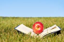 πίσω σχολείο βιβλίο μήλων ανοικτό Στοκ Φωτογραφία