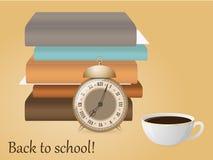 πίσω σχολείο Εικόνα με το συναγερμό, βιβλία, φλιτζάνι του καφέ ελεύθερη απεικόνιση δικαιώματος