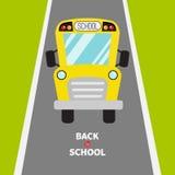 πίσω σχολείο Κίτρινα παιδιά σχολικών λεωφορείων Πράσινοι χλόη και δρόμος Κινούμενα σχέδια clipart μεταφορά Πλήρης άποψη προσώπου  διανυσματική απεικόνιση