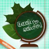 πίσω σχολείο Πίνακας κιμωλίας σφαιρών με τα φύλλα Στοκ Εικόνα