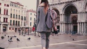 Πίσω τουρίστας γυναικών άποψης μοντέρνος με το σακίδιο πλάτης και κάμερα κοντά στο κτήριο καθεδρικών ναών SAN Marco στη Βενετία σ απόθεμα βίντεο