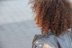 Πίσω του σγουρού κεφαλιού του κοριτσιού της τρίχας Στοκ Εικόνα