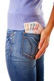 πίσω τσέπη χρημάτων Στοκ Φωτογραφίες