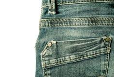 Πίσω τσεπών ράβοντας κινηματογράφηση σε πρώτο πλάνο ύφους τζιν παντελόνι εκλεκτής ποιότητας που απομονώνεται Στοκ Φωτογραφίες