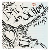 Πίσω χέρι σχολικών στο αφελές πρωτόγονο doodles που σύρεται με το μελάνι Στοκ Εικόνα