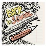 Πίσω χέρι σχολικών στο αφελές πρωτόγονο doodles που σύρεται με το μελάνι Στοκ Φωτογραφία